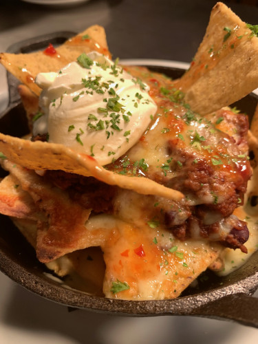 South of the Border Spiced Beef Nachos w Melted Cheese, Jalapenos, Sour Cream and Sweet Chilli